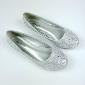 Hot Cakes Shoes - HotCakes Rhinestone Silver Ballet Dress Flats